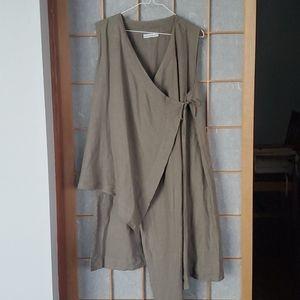 BRYN WALKER Linen Zen Wrap Vest/Tunic NWOT/sz M